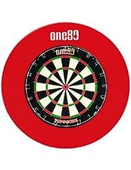 One80Deluxe Cible de fléchettes avec anneau en caoutchouc Surround Rouge