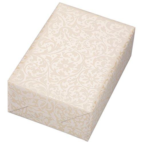 Geschenkpapier Rolle 50 cm x 50 m, Motiv Brokat, weiß mattes Ornament auf Perlglanz veredeltem Fond. Für Geburtstag, Hochzeiten.