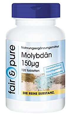 Molybdenum 150µg, sodium molybdate, vegan, essential trace element, without magnesium stearate, 120 molybdenum tablets by fair & pure