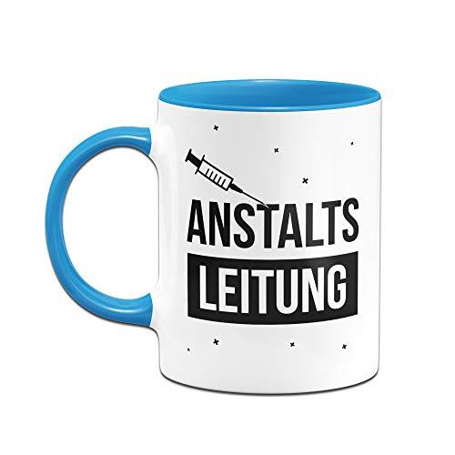 Tassenbrennerei Tasse mit Spruch Anstaltsleitung - Geschenk für Arbeitskollegen, Kollegin, Chef, Chefin Sprüche Tassen lustig (Blau) - 2
