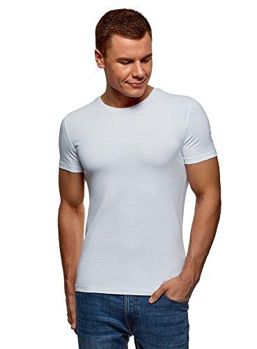 Oodji ultra uomo t-shirt in cotone basic senza etichetta, bianco, it 50-52/eu 52-54/l