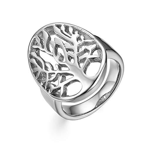OIDEA Damen Herren Edelstahl Lebensbaum Hochzeitsringe Band Ring Silber Ringgröße 67 (21.3) - Band-ringe Breites Silber