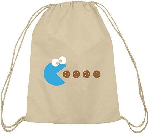 Shirtstreet24, BLUE MONSTER, Baumwoll natur Turnbeutel Rucksack Sport Beutel, Größe: onesize,natur (Cookie Monster Rucksack)