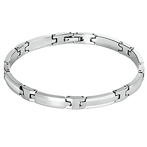 Epinki Herren Armband, Edelstahl Biker Herrenarmband H Form Dünn Handgelenk Link Panzerarmband Armschmuck Silber 22.5 CM