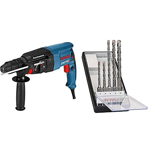 bosch professional gbh 2-26 f - martillo perforador, mandril de cambio sds-plus + bosch 2 607 019 927  - juego de 5 brocas para martillos perforadores robust line sds-plus-5