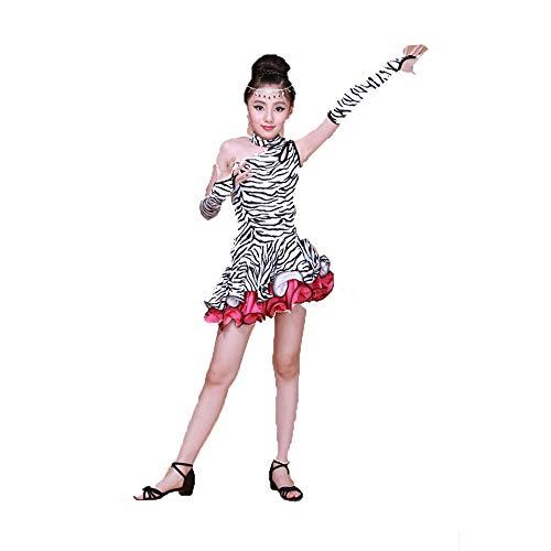 Kostüm Cosplay Prinzessin Kid Mädchen eine Schulter Rüsche Streifen Latin Ballett Rumba Samba Tanzkleid Party Ballroom Dancewear Bühnenkampf Wettbewerb Tanzkostüme Schicke Party (Ballroom Samba Kostüme)