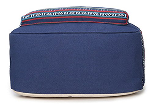 Keshi Leinwand Niedlich Schulrucksäcke/Rucksack Damen/Mädchen Vintage Schule Rucksäcke mit Moderner Streifen für Teens Jungen Studenten See blau