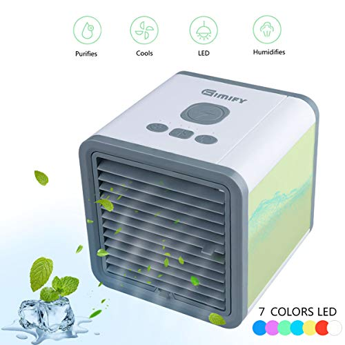 Mini Condizionatore Portatile - Gimify 3 in 1 Climatizzatore, Umidificatore e Purificatore d'aria, 3 Velocità, 7 Colori Vivaci, USB Raffreddamento dell'aria