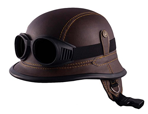 Unbekannt Motorrad Jet Helm Harley Chopper Militär Halbschale Biker Mofa Roller Wehrmacht (L, H2) (Helm Roller)