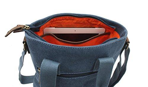 CACTUS Canvas e Distressed Leather oliato Grab / Croce Body Bag CL811_81 Viola Denim