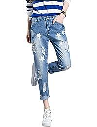 Femmes Pantalon Printemps Jeans Vintage Boyfriend Slim Rétro Trous Crayon Punk Collants