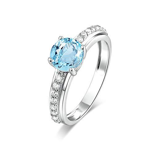 Aeici Verlobungsringe Frau Ringe für Frauen Silber 925 Runde Form Blauer Topas Rund Weiß Gold Größe 58 (18.5) (Ring Master Adult Kostüm)