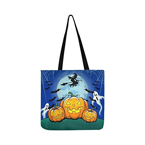 Halloween Thema Pop Art Retro Leinwand Tote Handtasche Schultertasche Crossbody Taschen Geldbörsen für Männer und Frauen Einkaufstasche