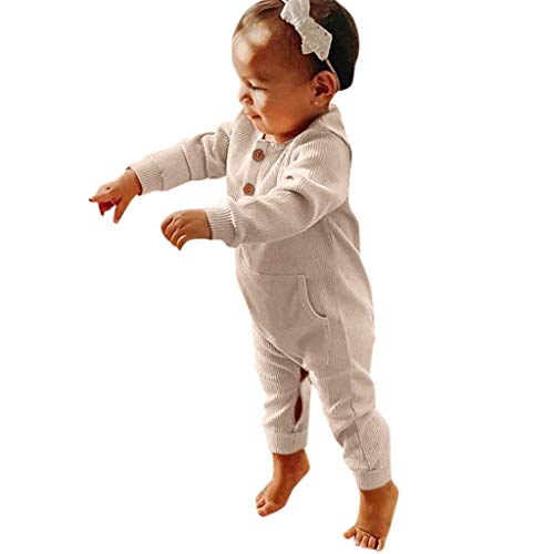 DIASTR Baby Kleidung, Neugeborenes Baby Junge Mädchen Kapuze Overall Kleidung Säuglingsbaby Jungen Lange Hülsen Feste Taschen Spielanzug Overall (0m-2y) -