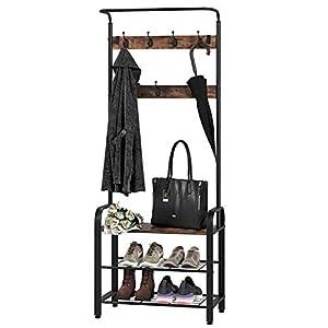 Homfa Garderobenständer mit Schuhablage und Sitzbank 11 Haken aus Metall Holz Vintage Schwarz184x72x33.5cm(HxBxT)