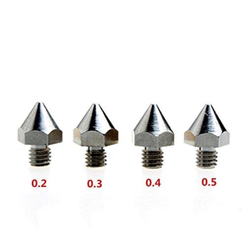 4 ugelli m6 dikavs, di precisione, per stampante in 3d, in acciaio inox, dimensioni: 0,2mm/0,3mm/0,4mm/0,5mm, per mk8makerbot ultimaker um2e3d, da 1,75 mm.