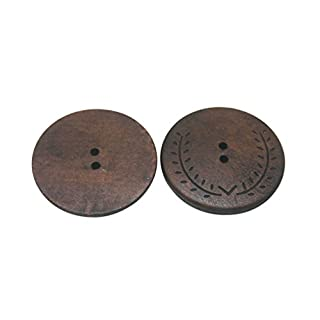Amanaote Large Size Wood Button Round 50mm Diameter with 2 Holes for Craft Sewing DIY Pack of 10