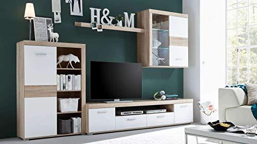 Avanti trendstore - milon - parete da soggiorno con illuminazione led inclusa, in laminato di quercia sonoma e colore bianco. dimensioni: lap 300x190x38 cm