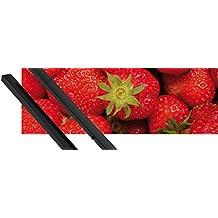 Póster + Soporte: Frutas Póster (91x30 cm) Dulces Fresas Y 1 Lote De 2 Varillas Negras 1art1®