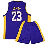 Sokaly Garçon Fille NBA Lakers James#23 Basket Maillots T-Shirt et Shorts Sportwear Ensemble pour Enfant Teenager Basket-Ball(Taille 100-180cm) (M(Enfant), Bleu foncé)