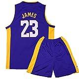 Sokaly Ragazzi Adulto Chicago Bulls Jorden # 23 Curry#30 James#23 Boston Pantaloncini da Basket Jersey Set di Abbigliamento Sportivo Maglie Top e Shorts (Altezza 100-180cm) (Blu#Lakers, M(Bambino))