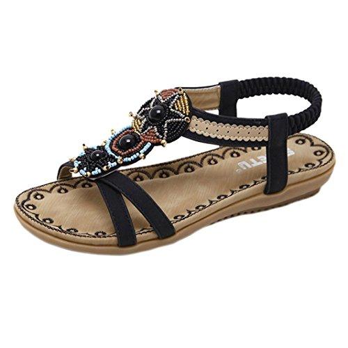 Elecenty Sandalen Damen Sommerschuhe,Frauen Große Größe Sommer Schuhe Bohemia Schuh Damenschuhe Flip Flops Shoes Sandaletten Frauen Flache Offene Freizeitschuhe Strandschuhe (37, Schwarz)