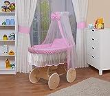 WALDIN Baby Stubenwagen-Set mit Ausstattung,XXL,Bollerwagen,komplett,24 Modelle wählbar,Gestell/Räder natur unbehandelt,Stoffe rosa/weiß