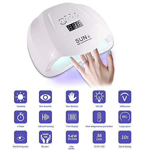 Pulchram LED Nageltrockner,54W Nagellampe Aushärtelampe, Nagelwerkzeuge für Fingernagel ,Professionelles Nagelaushärtelicht mit 4 Timer Einstellungen