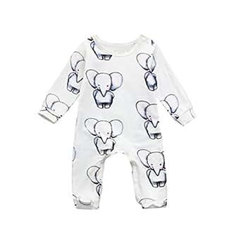 Jimmackey Neonato Unisex Tutine Elefante Stampa Pagliaccetto Manica Lunga Romper Tuta Vestiti (Bianca, 3 mesi)