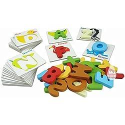 PIXNOR-Alfabeto Tarjetas Flash animal carta alfabeto de madera Puzzle