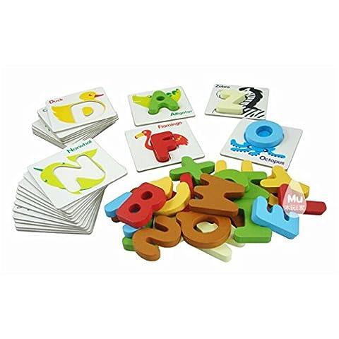 Pixnor Puzzle alphabet avec motif d'animal et lettres en bois