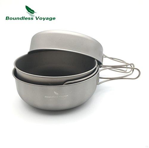 TJBGADIEMS Outdoor Ultralight Folding Handle 3PCS Titanium Bowl Set Cookware Picnic Titanium Pan Ti1571B Bebe Satin