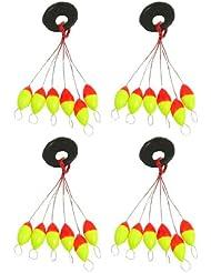 Boya de pesca - TOOGOO(R) 4pzs Amarillo rojo Plastico 6 en 1 Tapon boya de pesca Sz 3