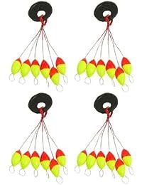 b204c743a245 TOOGOO(R) 4 Pcs Plastique jaune rouge 6 en 1 Peche Bouchon Butoir Sz