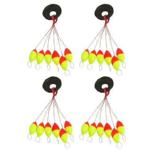 REFURBISHHOUSE 4pzs Amarillo Rojo Plastico 6 en 1 Tapon boya de Pesca Sz 3