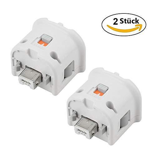 HOTSO Motion Plus Adapter Externer Remote Motion Plus Sensor Controller Adapter für Wii Wii U Fernbedienung, 2 Stück, Weiß -