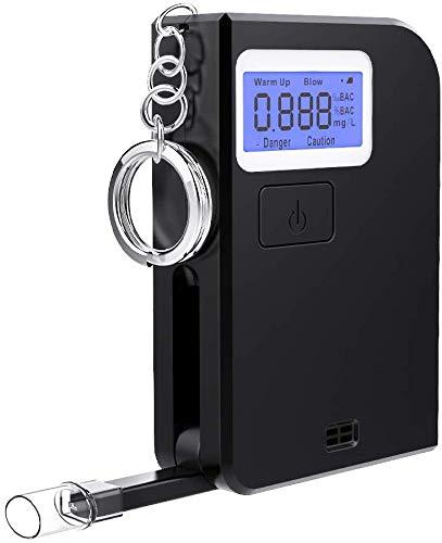 Ciaoed Alcoholimetro Llavera Profesional Portátil de Alcohol con Pantalla LCD 5 Boquillas