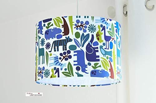 Kinderzimmerlampe mit Tieren für Jungs in Blau Grün Safari Elefant