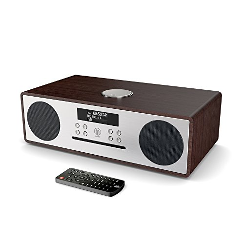 Majority Oakington DAB/DAB+ Digital FM Radio Bluetooth Wireless CD Player Micro Compact Hi-Fi Stereo Speaker System - Remote Control - USB Charging & MP3 Playback (Walnut)
