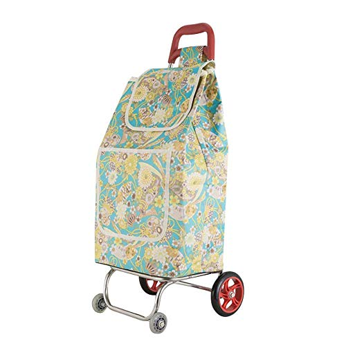 9fbeb3afaa4e SXRNN Folding Shopping Trolley Floral Waterproof Oxford Shopping Trolley  Steel Frame for Limited Mobility Seniors Load 50 Kg