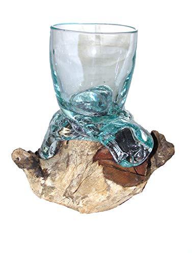 SAWA Whisky Glas auf Treibholz/Wurzelholz Trinkglas Dekoglas