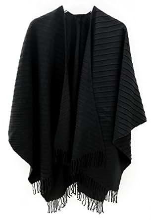 accessu eleganter damen poncho cape mit plissee design alternative zu jacke und pullover. Black Bedroom Furniture Sets. Home Design Ideas