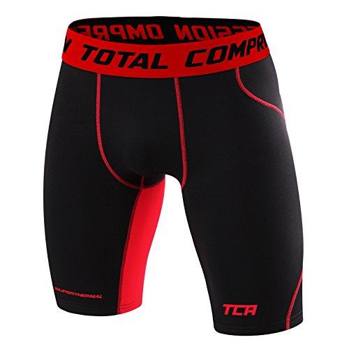 TCA SuperThermal - Herren/Jungen - Base Layer Kompressionsshorts - Thermo-Unterwäsche - Black Stealth/Team Red - 2XL (Compression - Shorts Team)