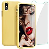 JASBON Coque pour iPhone XS Max Coque Silicone Liquide avec Protecteur d'écran Gratuit, Housse Etui de Protection Anti Choc GelCase pour iPhone XS Max – Jaune