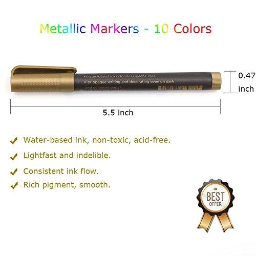Metallic Marker Pens, Beupro 10 Stück Metallic Permanent Marker für Kartenherstellung DIY Fotoalbum Gästebuch Gebrauch auf irgendeiner Oberfläche-Papier Glas Kunststoff Keramik Töpfer - 7