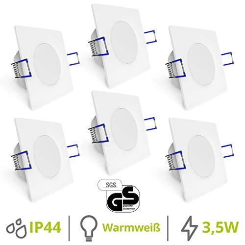 linovum® WEEVO 6er Set flache LED Einbauleuchten Bad - Deckenspot mit 6,5W 230V warmweiß - quadratisch weiß IP44 Wasserschutz