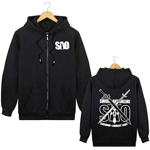 Cosstars Sword Art Online Sao Anime Sudaderas con Capucha Chaqueta Cosplay Disfraz Zip Hoodie Jacket Outwear Abrigo Negro 1 XXL