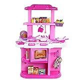 Kinder SpielküChe Kunststoff KüChenzubehöR Mit Light & Sound Mikrowelle Pretend KüChe Lebensmittel Kochen ZubehöR Chef Rolle Spielzeug,pink