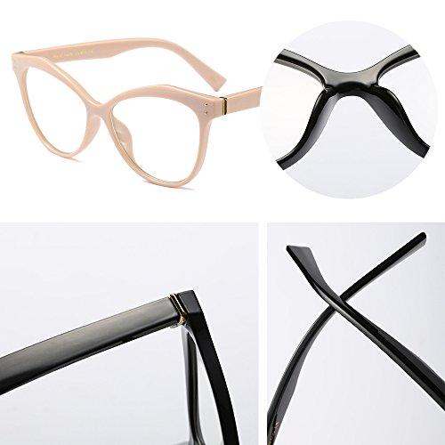 BOZEVON Donna Moda Classico Montatura Occhiali da Vista Occhiali con Lenti Trasparenti Occhio di gatto Festa Occhiali , Cachi