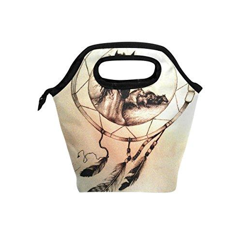 JSTEL - Bolsa de almuerzo para caballo con diseño de atrapasueños, bolsa para el almuerzo, contenedor de alimentos, para viajes, picnic, escuela, oficina